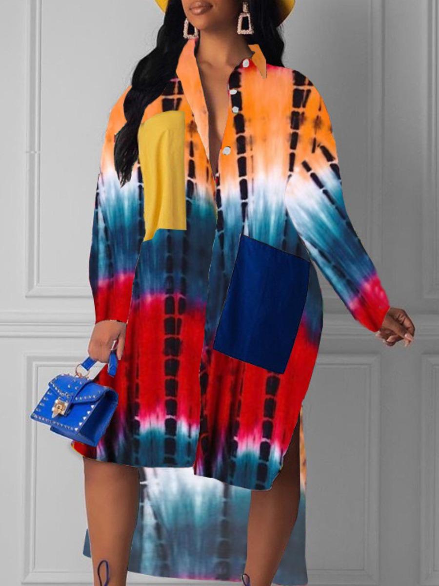 LW Plus Size Gradient Print Color-lump Shirt Dress