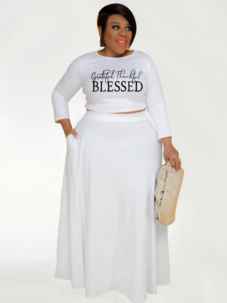 Lovely Plus Size Letter Print Pocket Slit Skirt Set