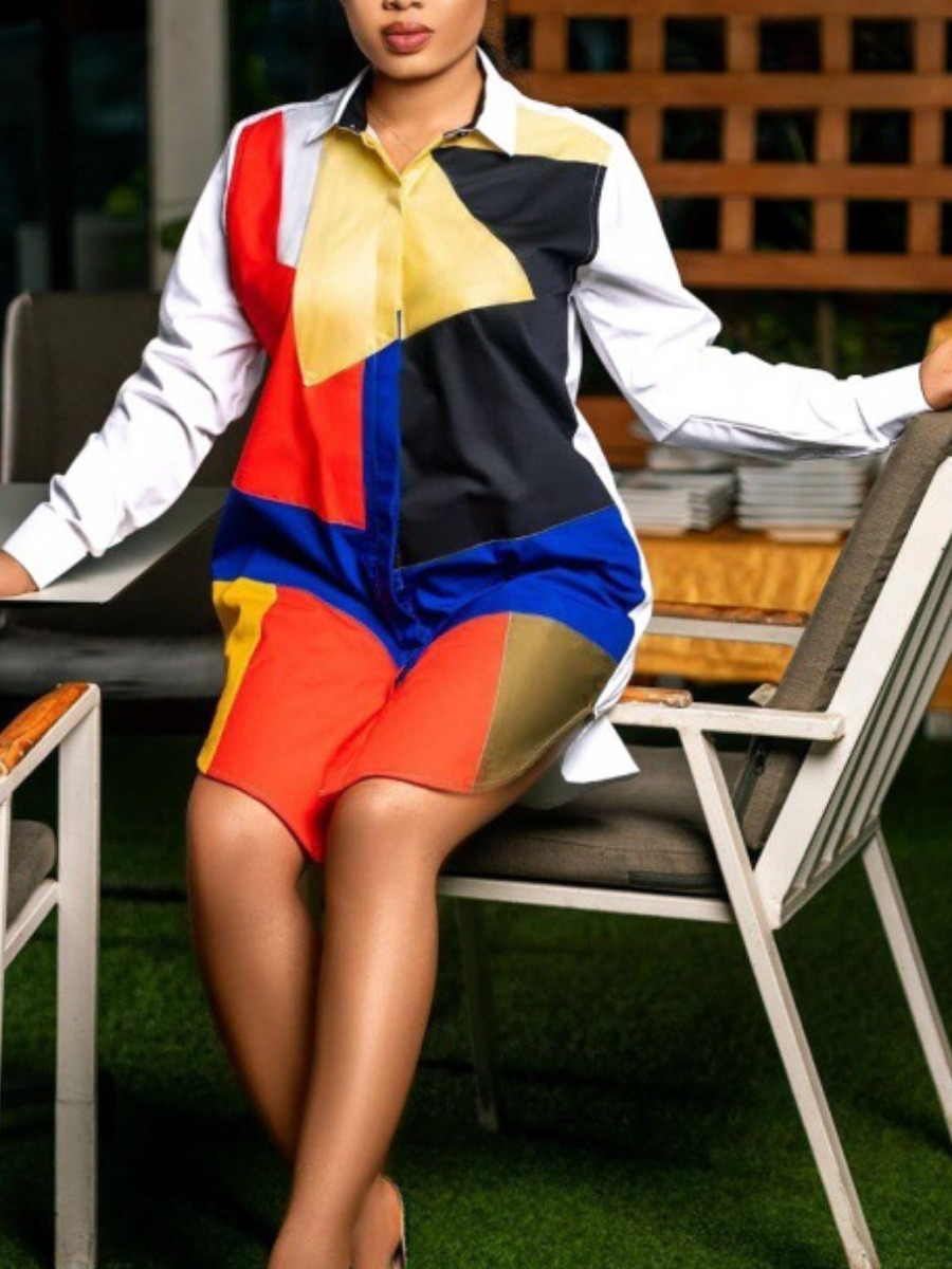 LW Color-lump Patchwork Slit Shirt Dress