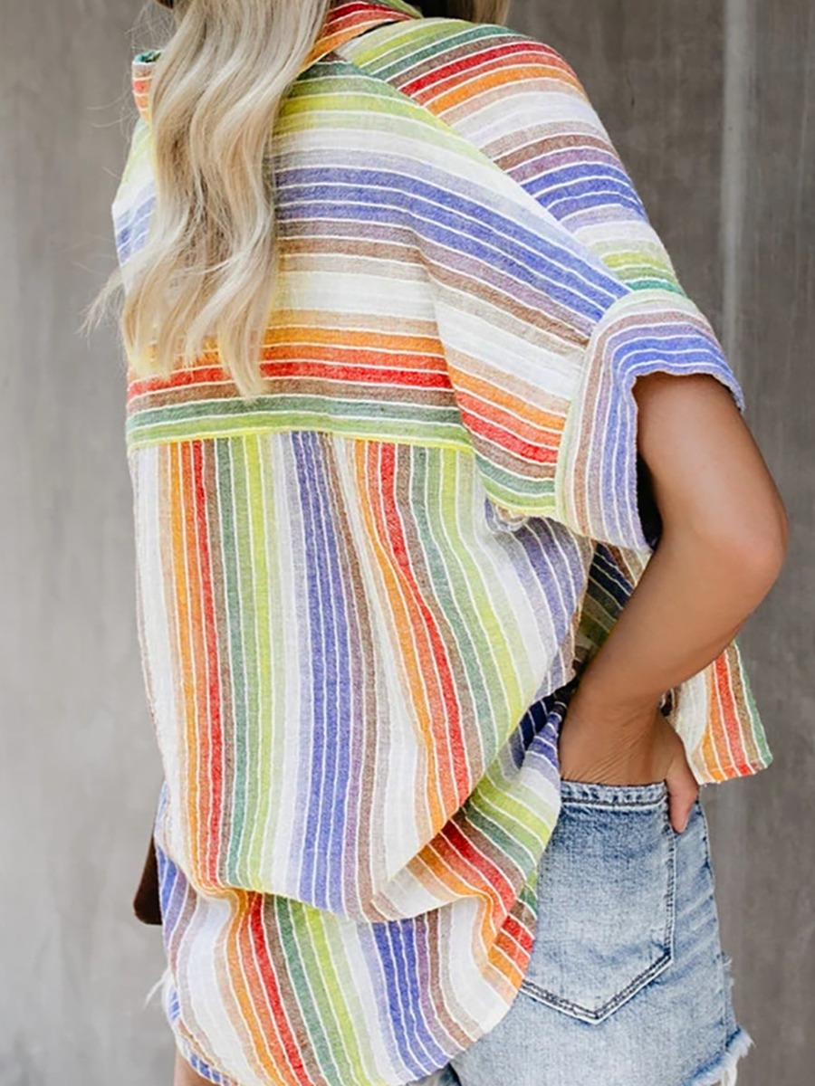 LW Plus Size Turndown Collar Striped Blouse