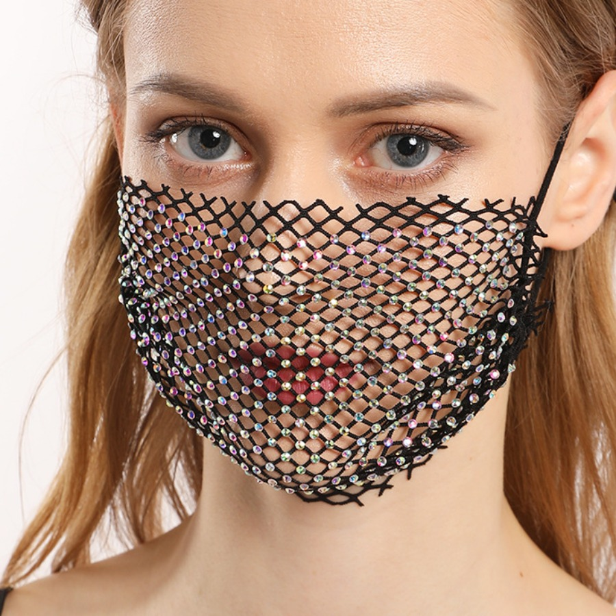 LW Rhinestone Hollow-out Design Face Mask