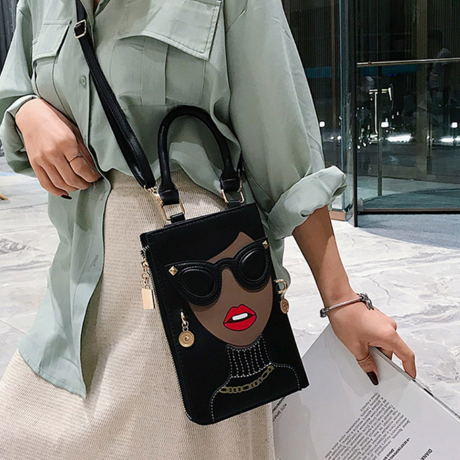 LW Rivet Ring Decor Potchwork Messenger Bag