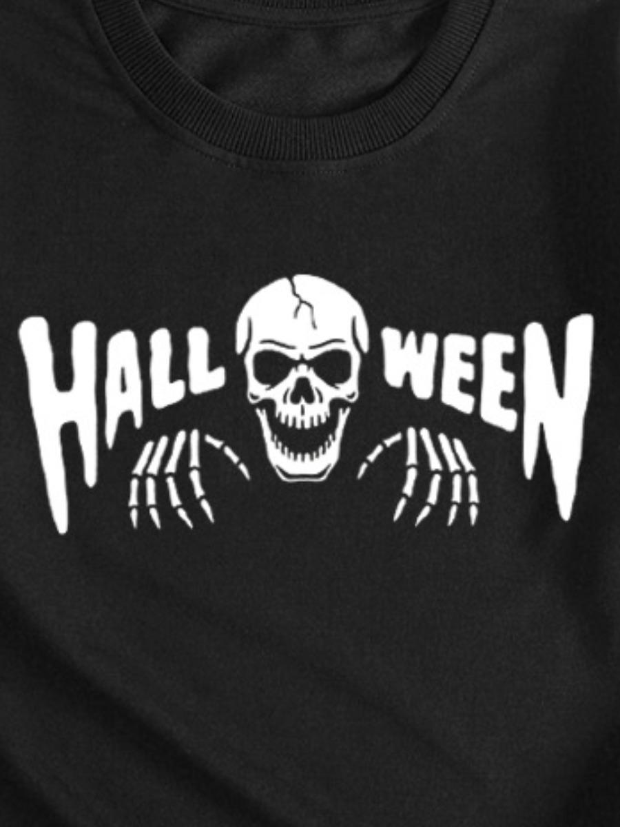 LW Letter Skull Head Print Sweatshirt