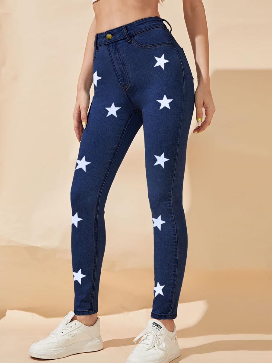 LW BASICS High-waisted Star Print Jeans