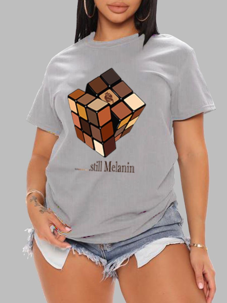 LW BASICS Rubik s Cube Letter Print T-shirt