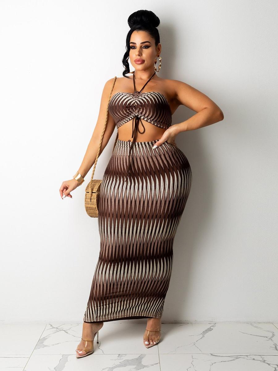 LW Plus Size Gradient Print Drawstring Skirt Set