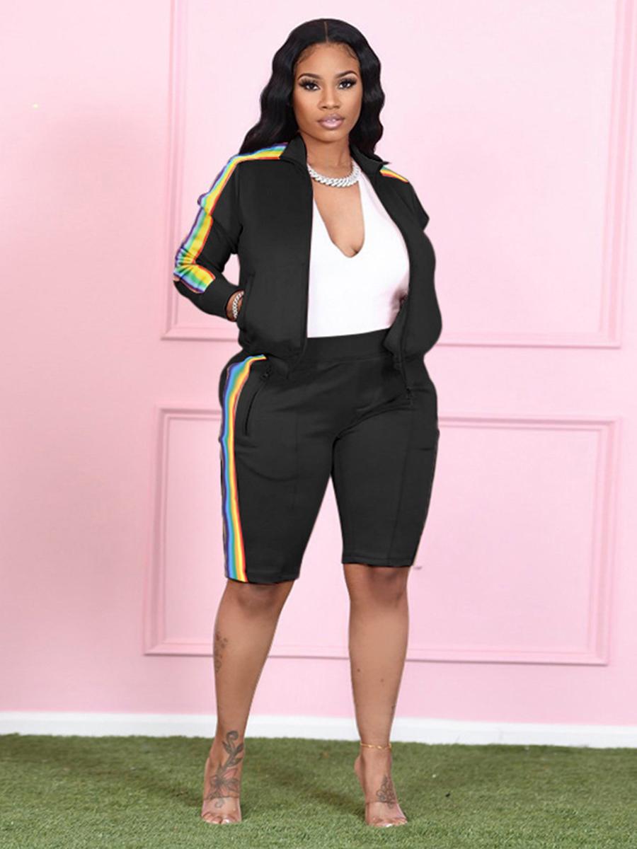 LW Plus Size Rainbow Striped Zipper Design Shorts Set