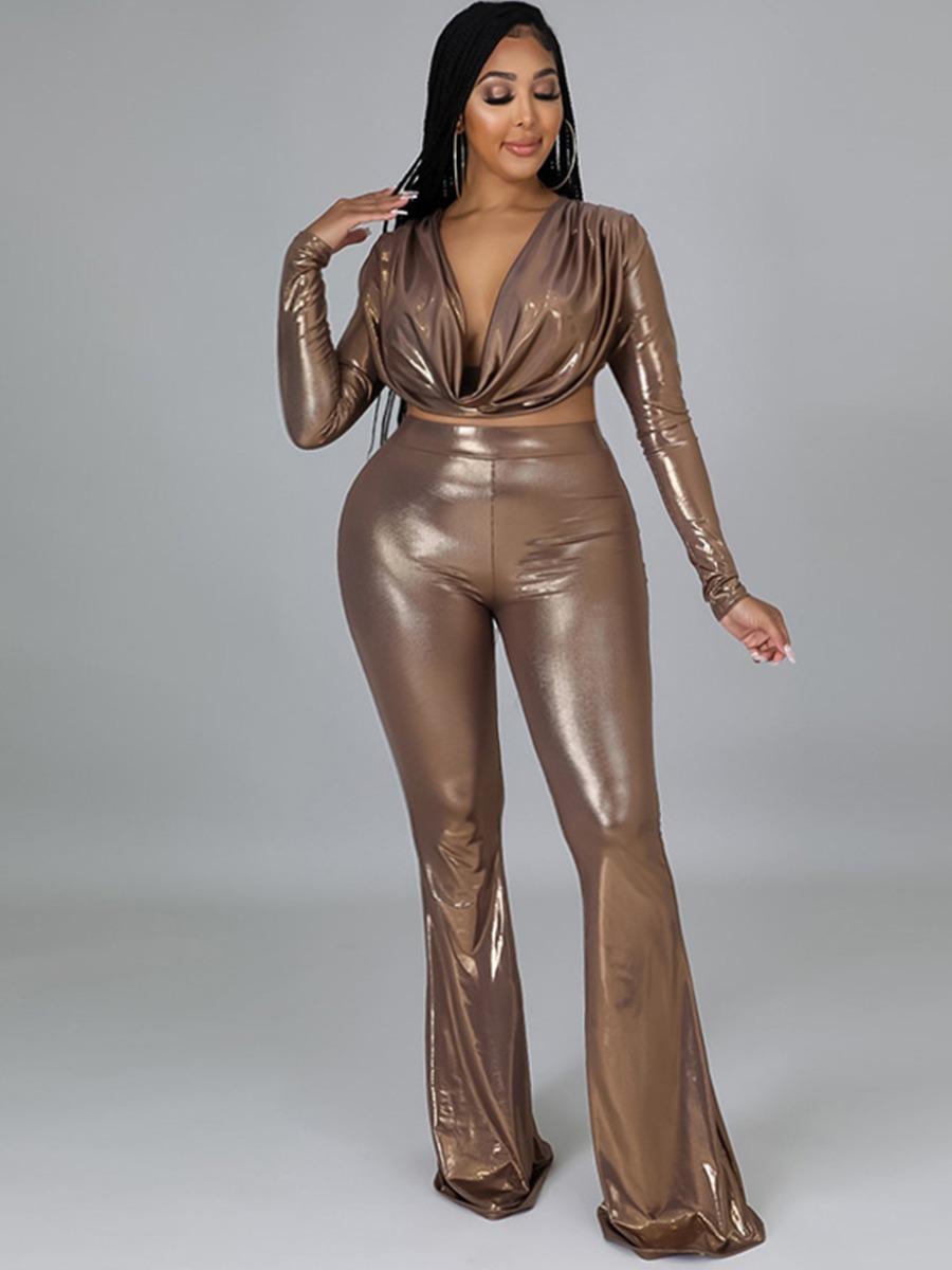 LW Plus Size Ruched Crop Top Pants Set