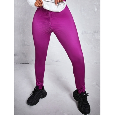 LW BASICS Trendy Masked Face Print Patchwork Purple Two Piece Pants Set