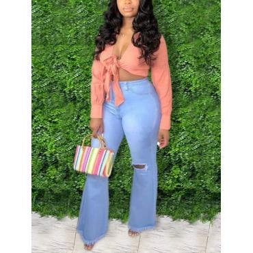 LW BASICS Plus Size Ripped Raw Edge Jeans