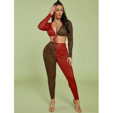 LW SXY Color-lump Crop Top Pants Set