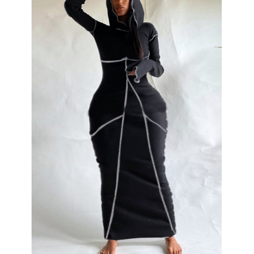 LW Casual Hooded Collar Striped Black Ankle Length Dress