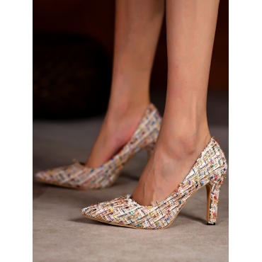 Lovely Woven Tweed Cloth Pumps