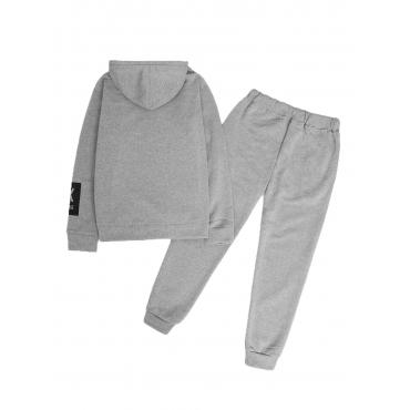 LW Men Hooded Collar Letter Print Grey Oversized Pants Set