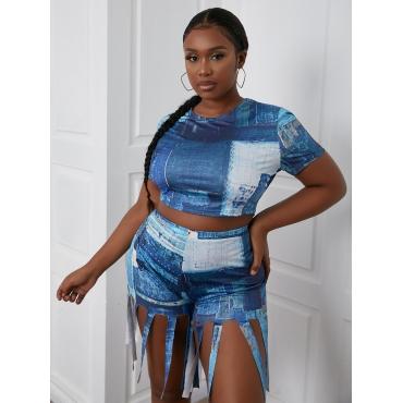 LW Plus Size Tassel Design Patchwork Two-piece Shorts Set