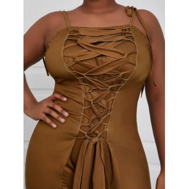 LW Plus Size Tie Shoulder Bandage Design One-piece Jumpsuit
