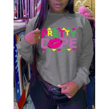 LW BASICS Lip Letter Print Sweatshirt