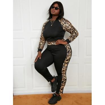 LW Plus Size Round Neck Leopard Print Pants Set