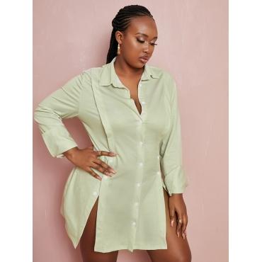 LW Plus Size Button Design Slit Shirt Dress