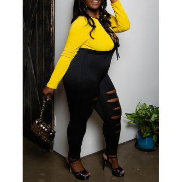 LW SXY Plus Size Ripped Bandage Hollow-out Design Jumpsuit