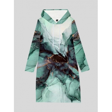 LW Plus Size Hooded Collar Ink Print Sweat Dress