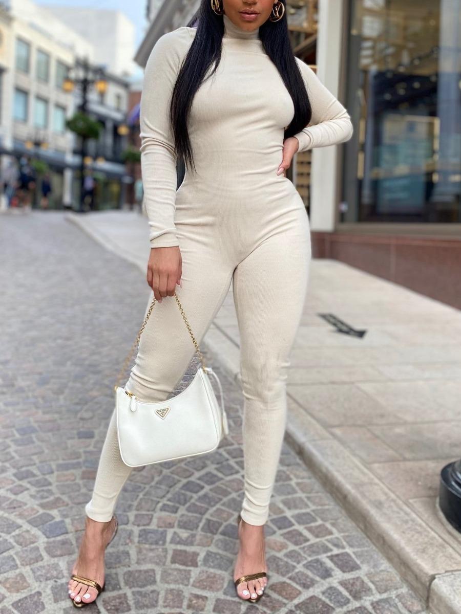 LW SXY Turtleneck Backless Basic Skinny Jumpsuit