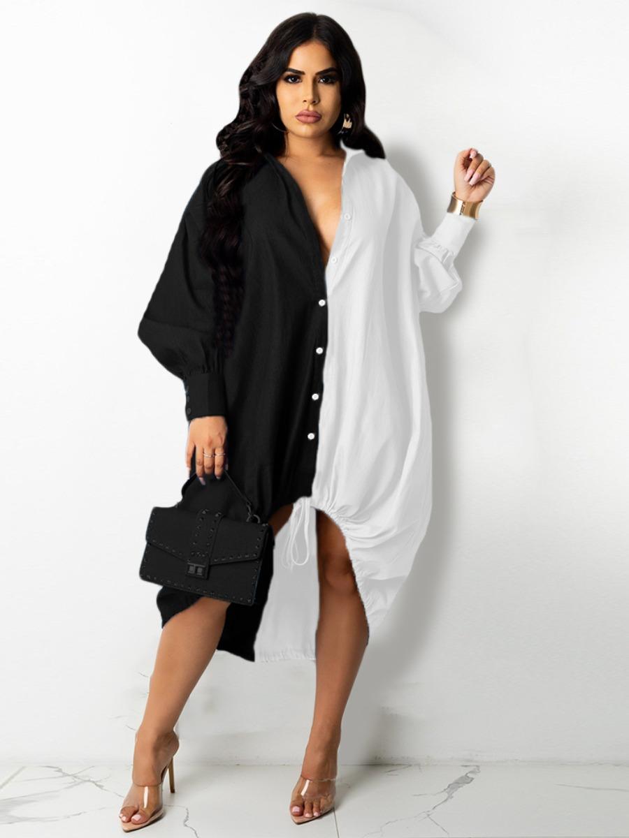 LW Drawstring Patchwork Baggy Shirt Dress