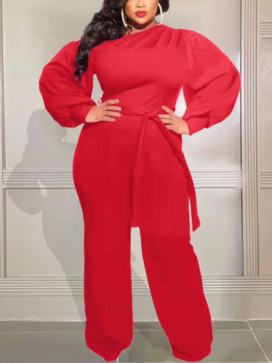 LW Plus Size Oblique Shoulder Bandage Design Basic Jumpsuit