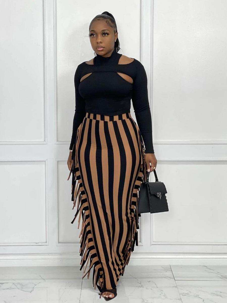 LW Striped Tassel Design Skirt