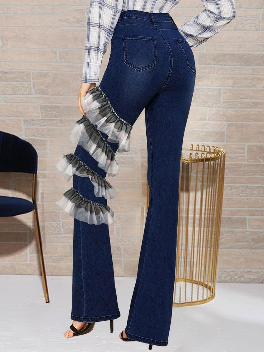 LW BASICS Ruffle Patchwork Flared Jeans