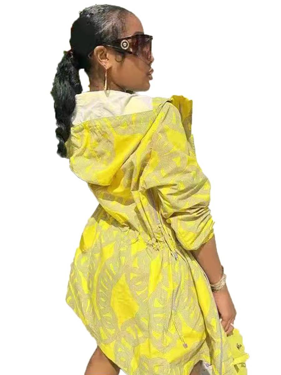 LW Plus Size Hooded Collar Mixed Print Shorts Set