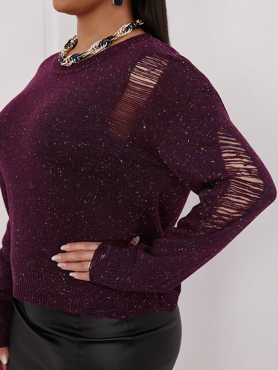 LW Round Neck Ripped Sweater