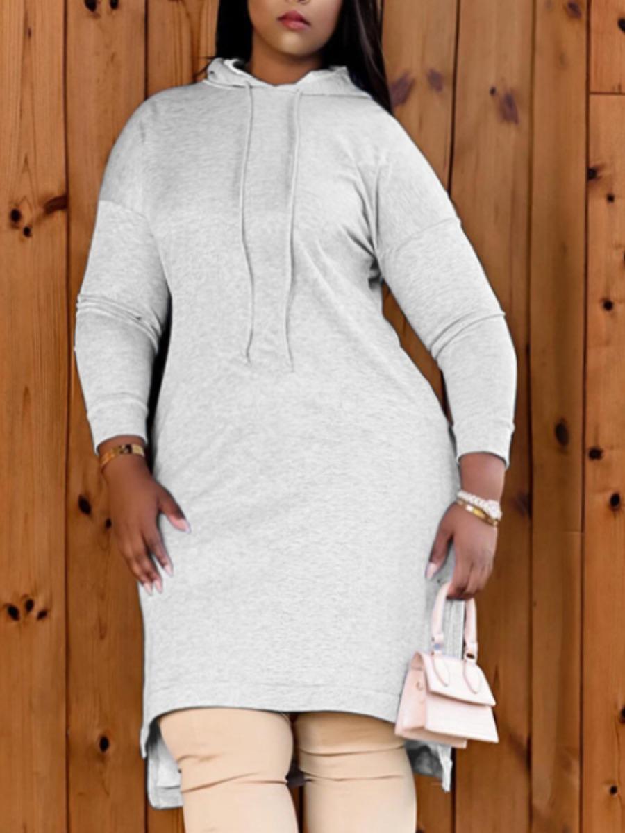 LW Hooded Collar Slit Sweat Dress