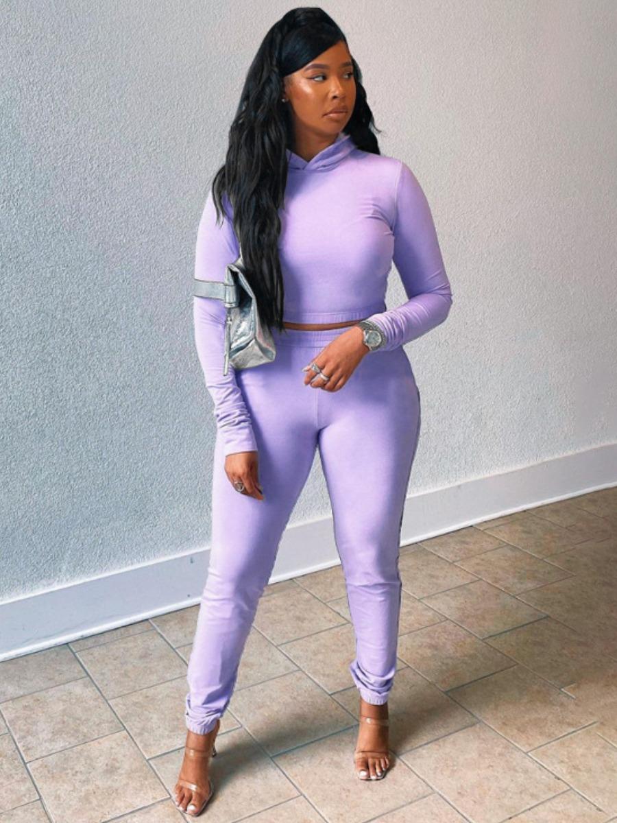 LW Casual Crop Top Basic Skinny Pants Set
