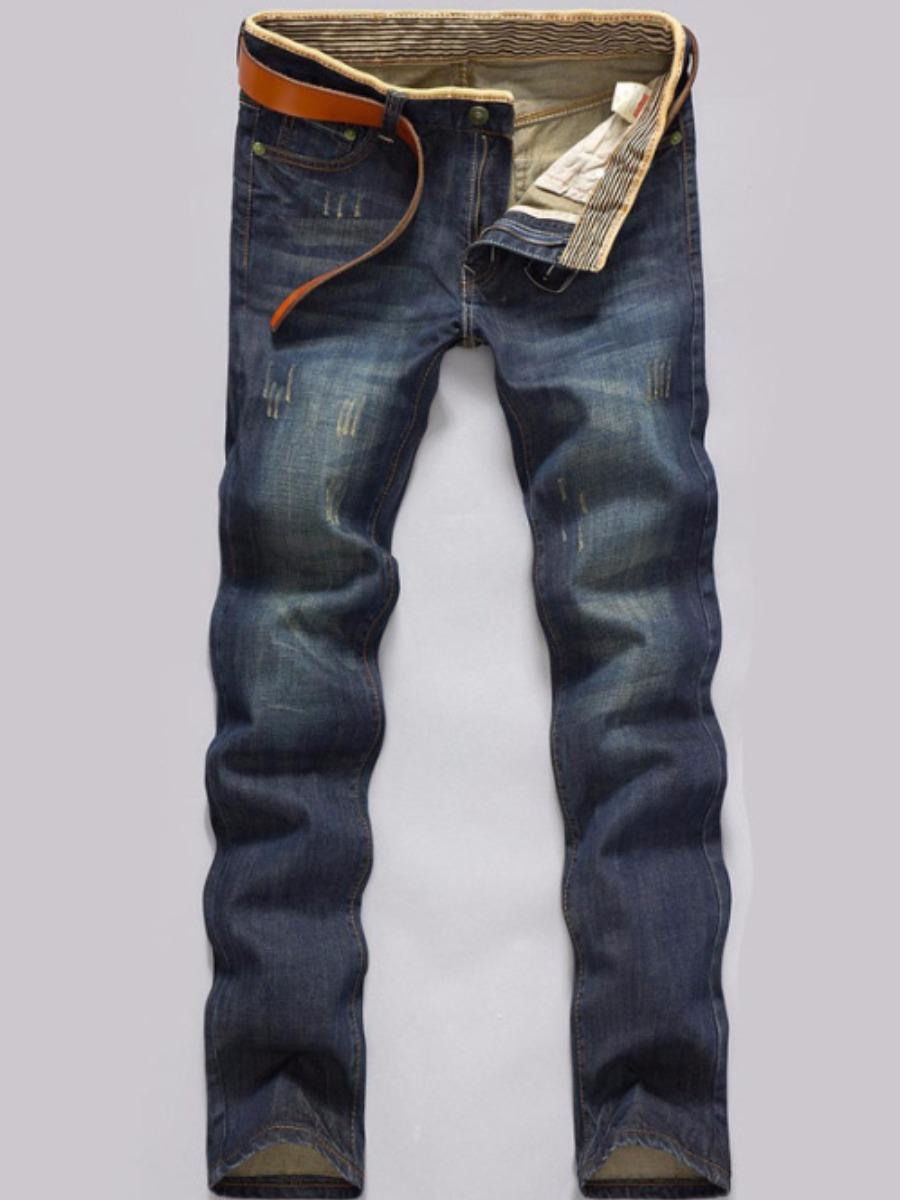 LW BASICS Men Street Retro Mid Waist Jeans