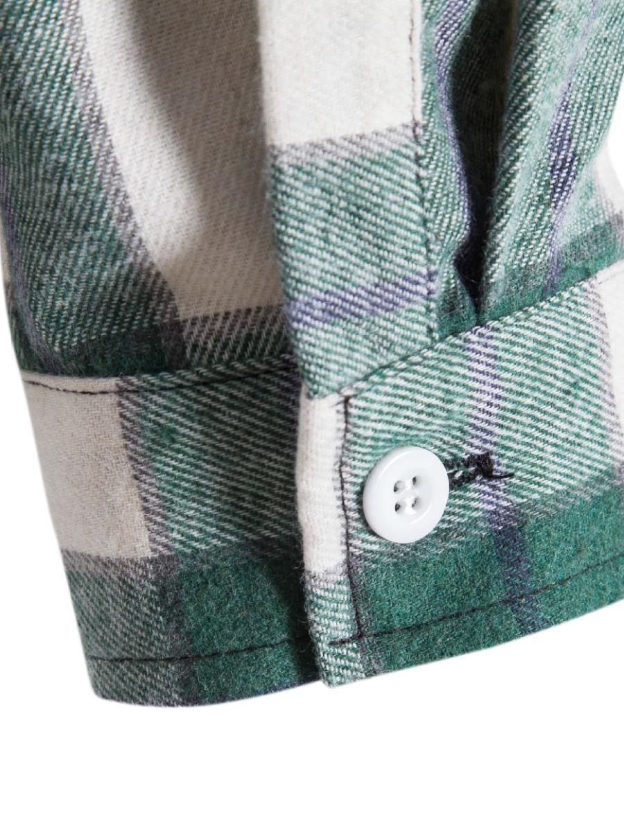 LW Men Casual Hooded Collar Plaid Shirt