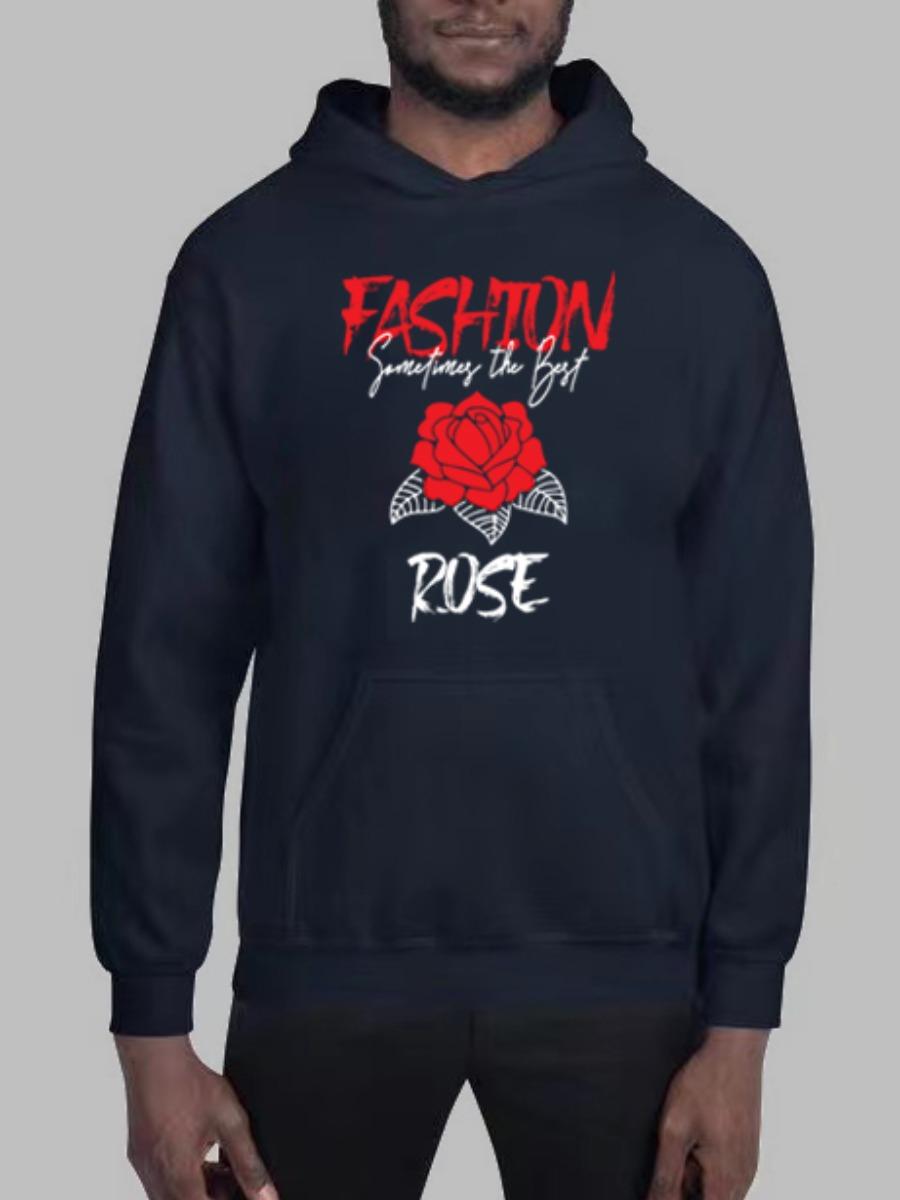 LW BASICS Men Letter Rose Flower Print Hoodie