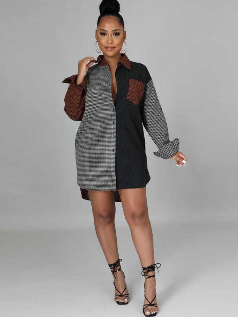 LW Pocket Design Plaid Patchwork Shirt Dress