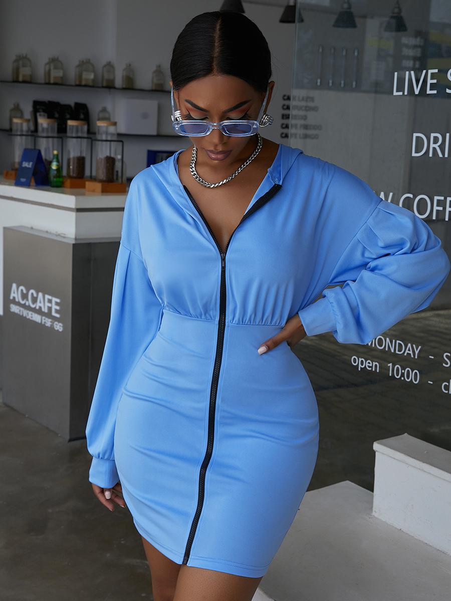 LW EDGE Hooded Collar Zipper Design Sweat Dress