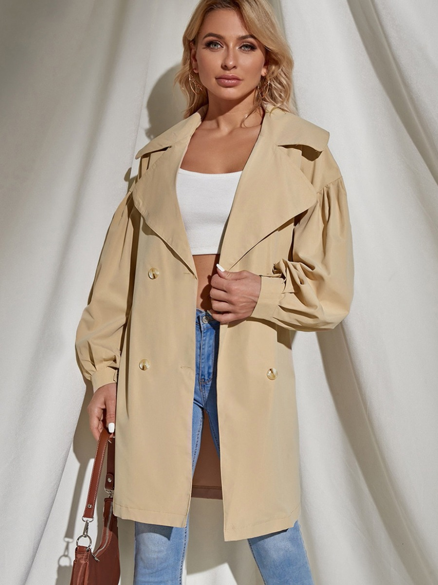 LW Button Design Solid Oversized Trench Coat
