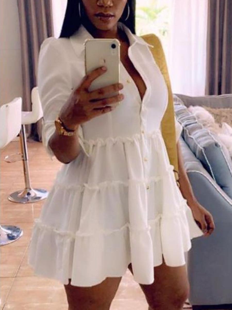 LW Agaric Trim Button Design Shirt Dress