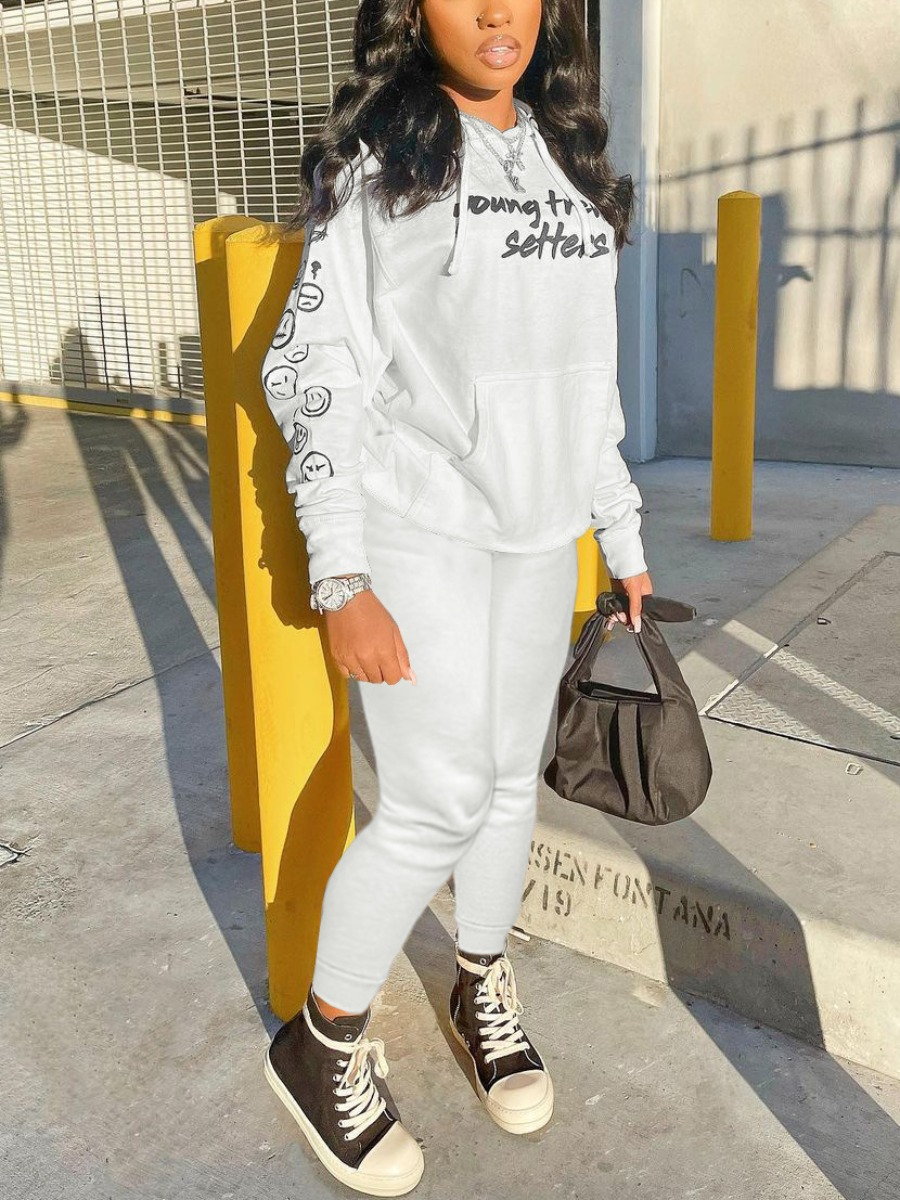 LW Sweat Hooded Collar Letter Print Tracksuit Set