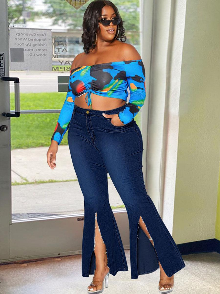 LW High Split Flared Jeans