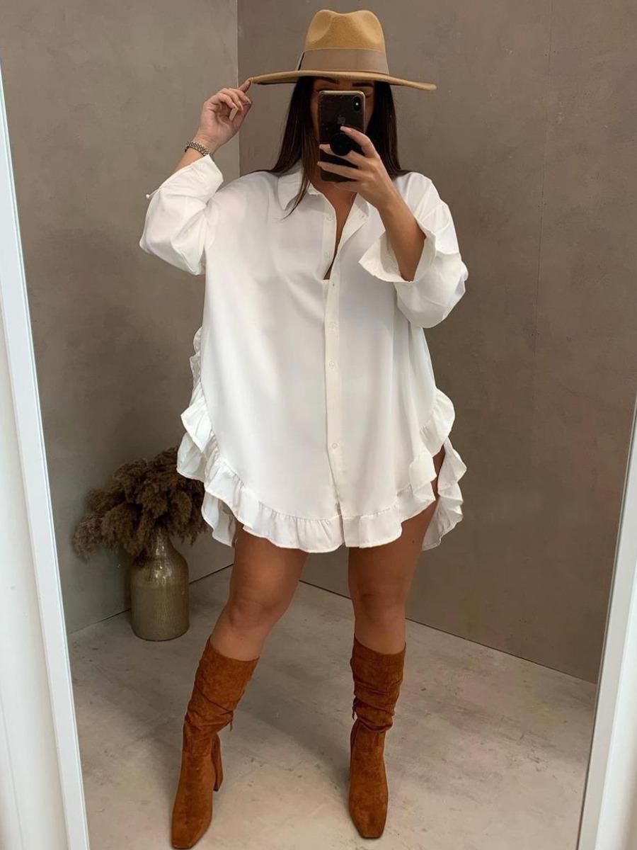 LW Ruffle Hem Button Design Shirt Dress