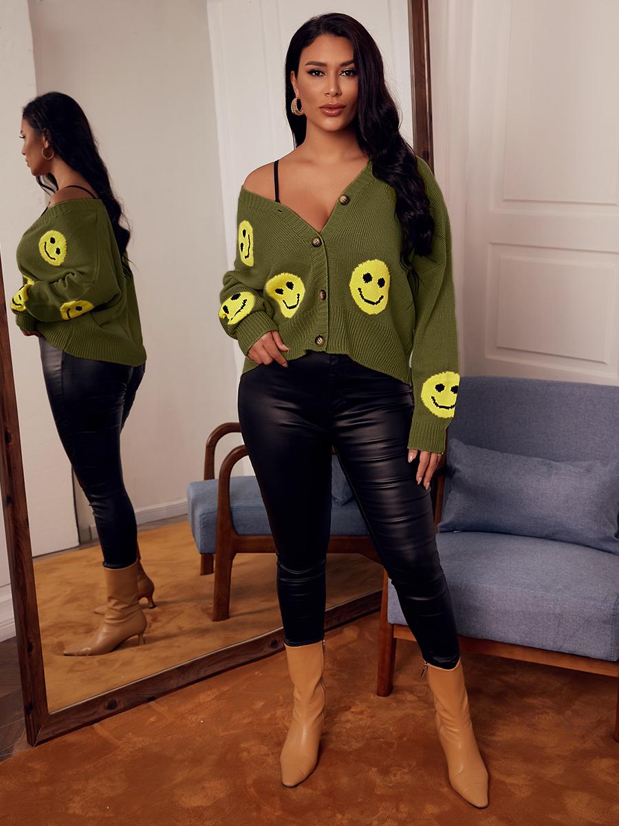 LW Smiley Print Button Design Cardigan