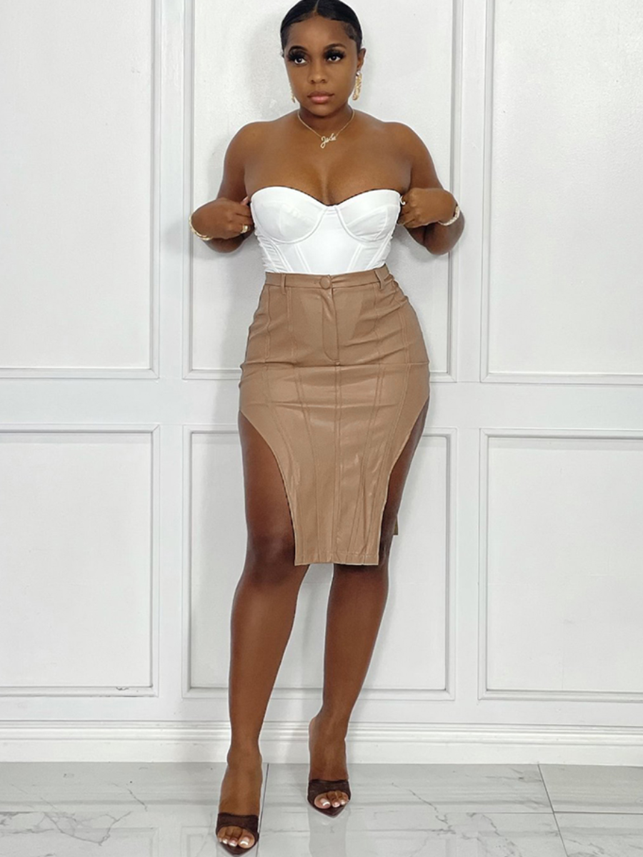 LW BASICS Street PU Slit Button Design Skirt