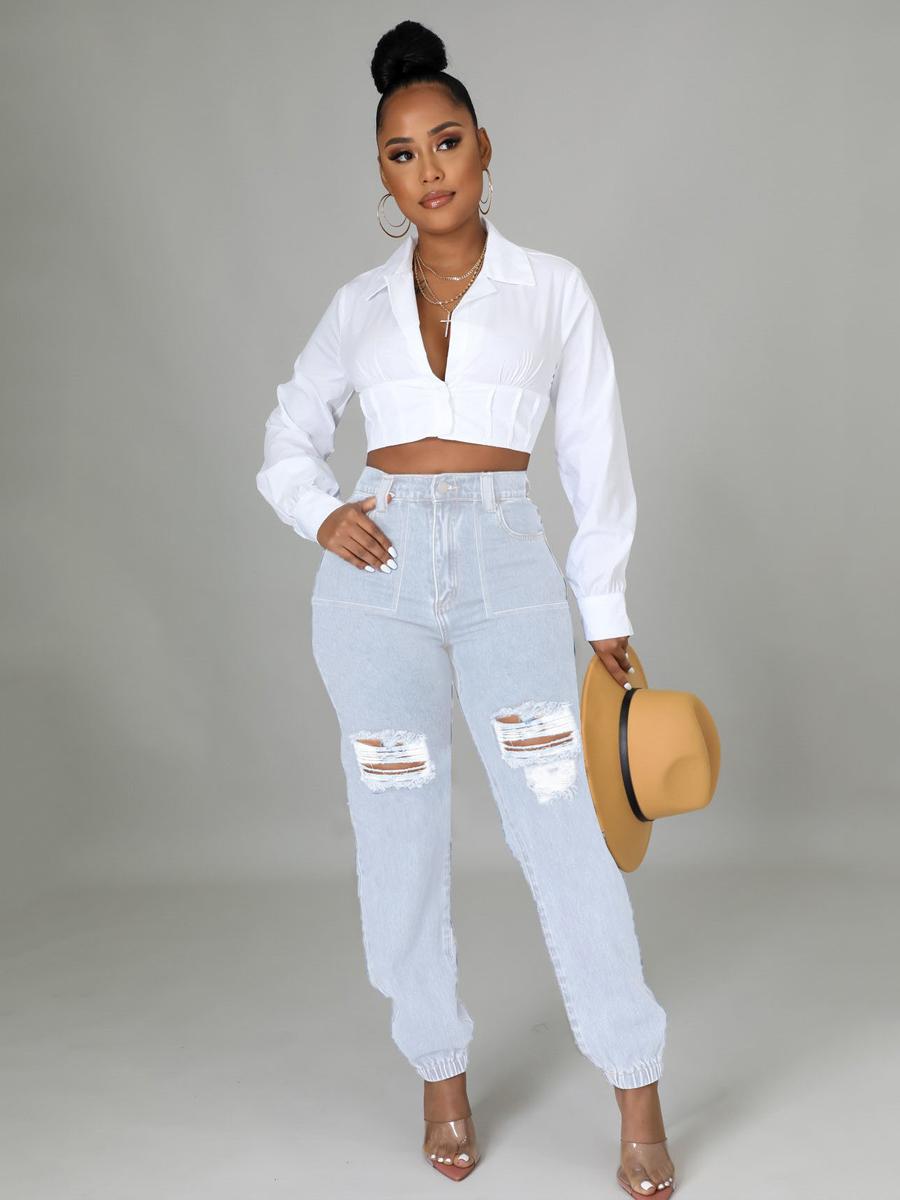 LW Slant Pocket Ripped Solid Jeans