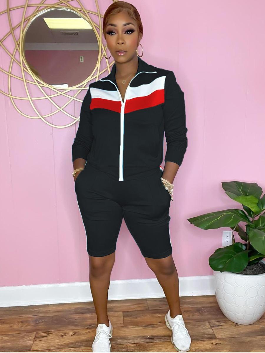 LW Zipper Pocket Design Striped Shorts Set
