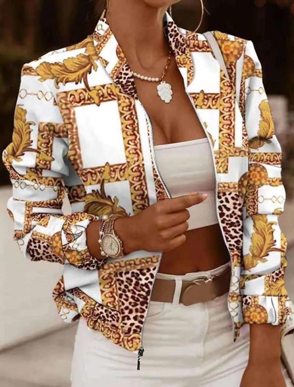 LW Leopard Plaid Print Zipper Design Jacket