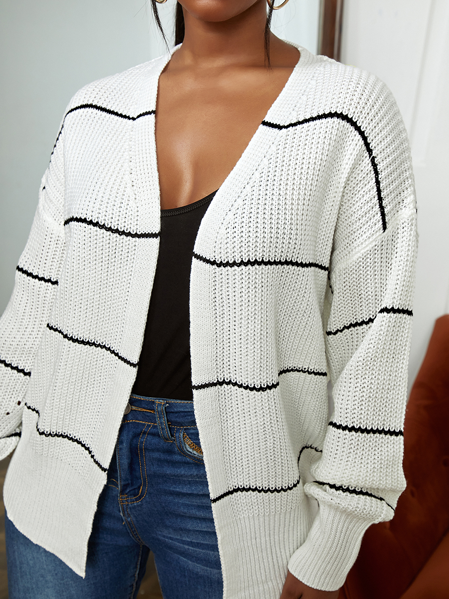 LW Rib-knit Striped Loose Cardigan